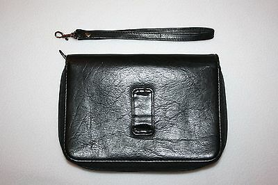 "Black Faux Leather Purse Organizer Planner  2 zip sections 5 1/2"" X 8"""