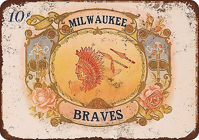 Milwaukee Braves Cigars Vintage Look Reproduction Metal Sign