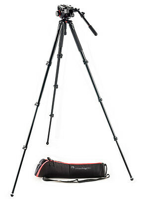 Manfrotto 535 Aluminum Video Tripod and 504HD Fluid Head Kit with case