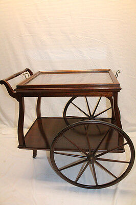 Outstanding English Mahogany Serving Table Tea Cart with Glass Tray