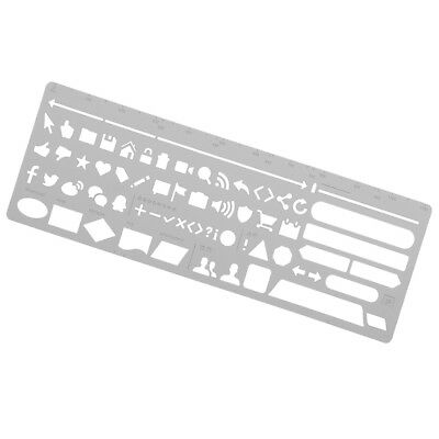 Stainless Steel Portable Drawing Graffiti Web UI Template Tool Ruler Stencil