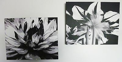 Black & White Flower Floral Print on Gallery Canvas  Pair TWO 002/100 Signed ART