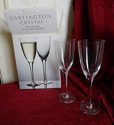 Vintage Dartington crystal two Rachael white wine glasses boxed