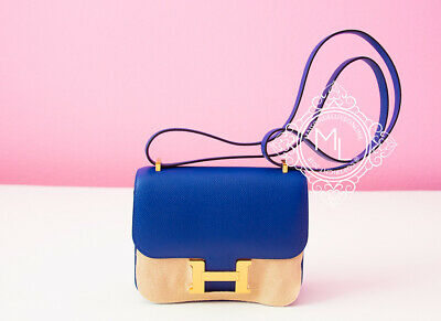 2da22b3f5b7 New Hermes Blue Electrique Electric Epsom Constance 18 19 Mini Birkin Kelly  Bag