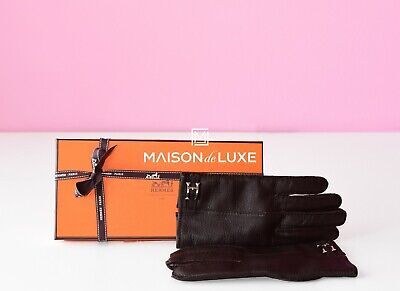 New Hermes 40%off Cashmere Lining Moka Deerskin Leather H Lord Kelly Gloves 8.5