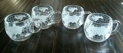 4 Vintage Nestlé World Globe 8oz Mugs