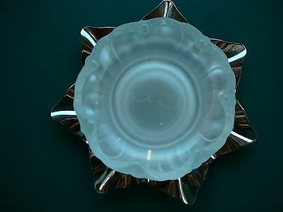 VTG FARBER BROS SIGNED CHROME PLATE w/FROSTED GLASS MAYONNAISE BOWL / DISH