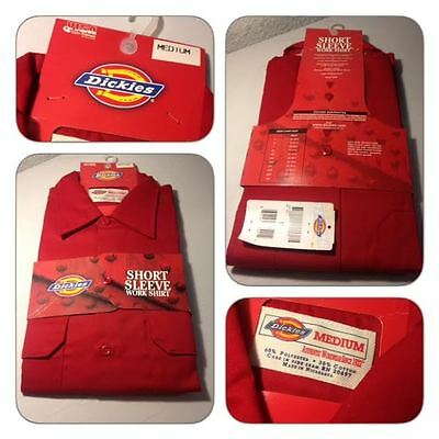 Dickies Work Shirt Red Short Sleeve Button Down Nwt Med