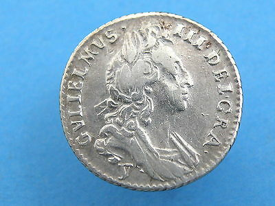 1697 King William III - SILVER SIXPENCE COIN - YORK MINT 'Y' Below - GOOD GRADE