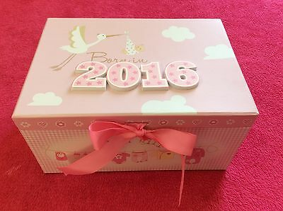 Baby Girl 'Born In 2016' 3D PINK Keepsake Box With Ribbon