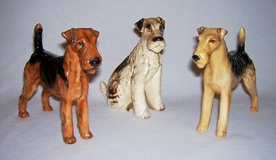 Collection of (3) Different Porcelain AIREDALE TERRIER DOG Figurines~ UK & Japan