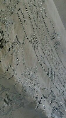 """Antique Appenzell embroidery  tablecloth  100""""×64"""" 12 napkins"""
