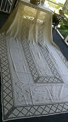 """Vintage Italian hand made Reticella lace embroidery linen tablecloth 118 """" ×68"""""""