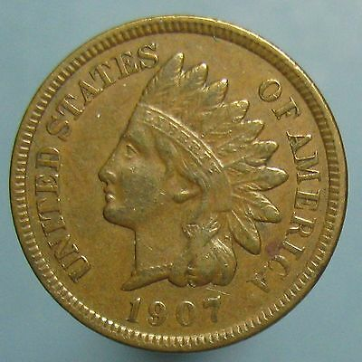 1907 Indian Head Cent - Brown EF