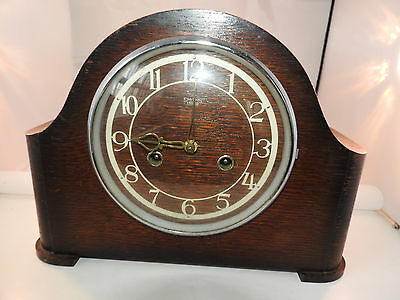 1930s oak Smits mantle clock with striking movements in working order