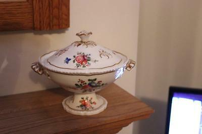 Continental Handpainted Roses Antique Lidded Tureen / Lidded Vegetable Dish