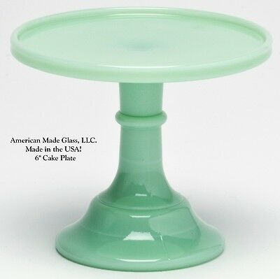 """Jade Jadeite Green Glass Plain & Simple 6"""" Cake Plate Bakers Stand Pastry Tray"""