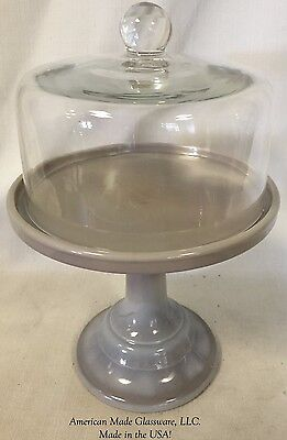 """Gray Glass Plain & Simple 6"""" Cake Plate Bakers Stand Pastry Tray w/ Dome"""