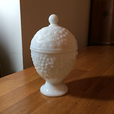 AVON Covered Milk Glass White Candy Dish Pedestal Floral Vintage Retro