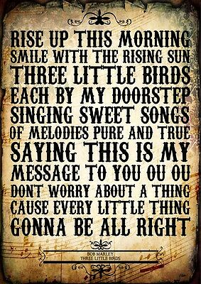 Bob Marley Three Little Birds Don't Worry Poster Music Lyric A4 Quote Art Print
