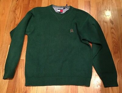 Mens Vtg 90s TOMMY HILFIGER Green Crew neck Cotton Sweater Size L