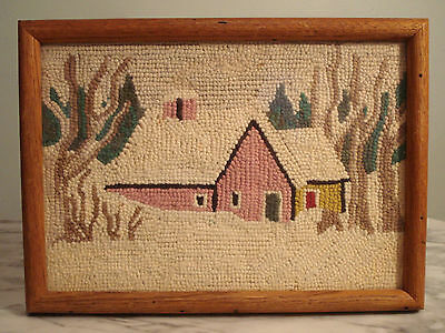 Vintage hand made Primitive Punch Needle Embroidery Winter scene Framed Picture