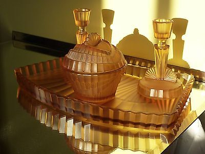 Art Deco Amber Glass Dressing Table Set
