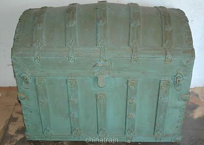 Antique Vintage Oak Strap Dome Top Steamer Travel Trunk 33x20x27