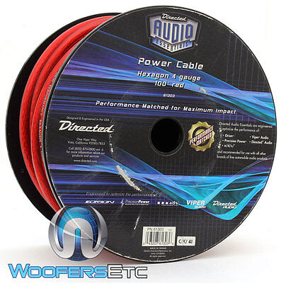 Directed Audio 61303 Red 4 Gauge 100 Foot Spool Power Amplifier Wire Cable Cord