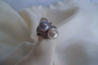 .925 Sterling Silver Pearl Cocktail Ring Size 7