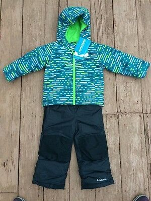 Columbia Frosty Slope Outgrown Hooded Snow Set, 3T New With Tags Green/black