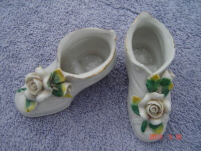Vintage Porcelain Miniature Shoes Topped with Roses From Occupied Japan Set of 2