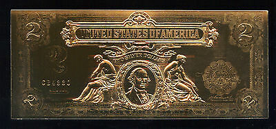 $2 1899 BILL US TWO DOLLAR GOLD LEAF DUECE 2001 Series High Relief Gift Note