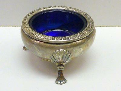 Fisher Sterling Silver Cobalt Glass FOOTED with SHELL Salt Cellar Large