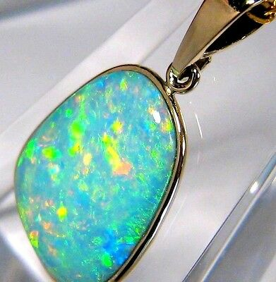5.3ct 14k Gold Natural Mined Top Quality Australian Solid Opal Pendant Gift #122