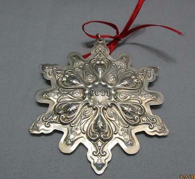 Towle Sterling Silver Christmas Ornament Old Master Snowflake 2000 Pouch