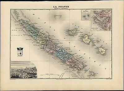 French New Caledonia Coral Sea Pacific Loyalty isles 1903 decorative antique map