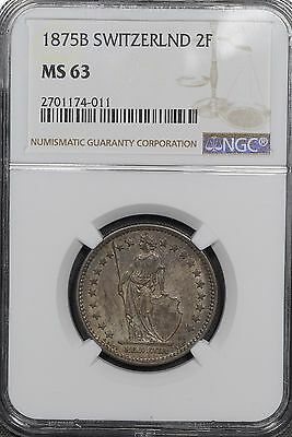 1875-B Switzerland 2 Francs, NGC MS63, Finest Graded By 5 Points