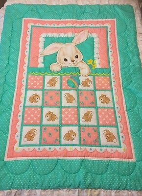 Pink Green Handmade Bunny Rabbit Baby Quilt Quilted Blanket Crib Wall Nursery