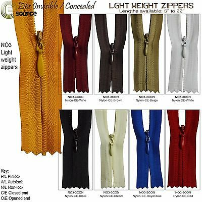 Invisible Zippers Nylon Light weight Concealed Zips Slider NO 3 Closed End