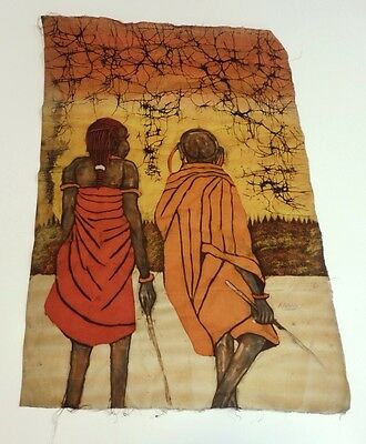 Original African Batik Textile Art Two Women Figures Tribal - signed ABBAS