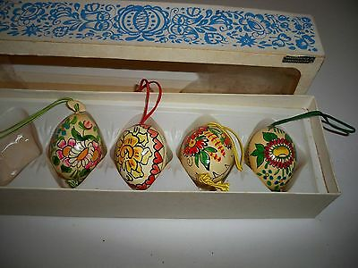 Four Vintage Egg Shaped Handpainted  Wooden Ornaments~From Czechoslovakia