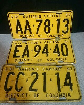 Lot of 3 1957 DC license plates District of Columbia license plates