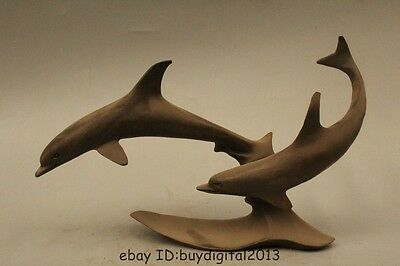 Lovely Chinese Bronze Two Playing Dolphin Delphinids Sea Fish Jumping Statue