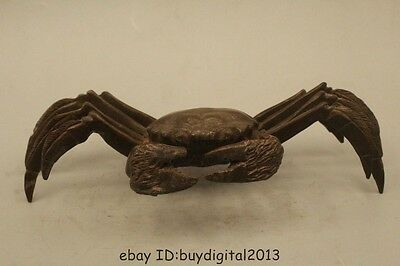 Lovely China Chinese Pure Bronze Lifelike Crab On Statue Sculpture Figure