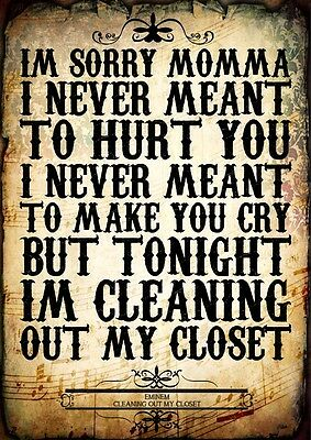 Eminem Cleaning Out My Closet Rap Poster Music Lyrics A4 Quote Word Art Print