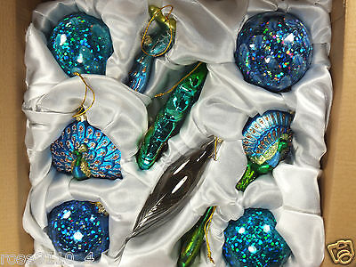 10 Pcs Peacock Theme Christmas Glass Ornaments