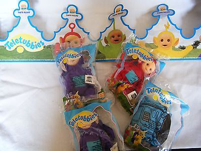 Burger King Teletubbies 1999 lot of 4 MIP with crown