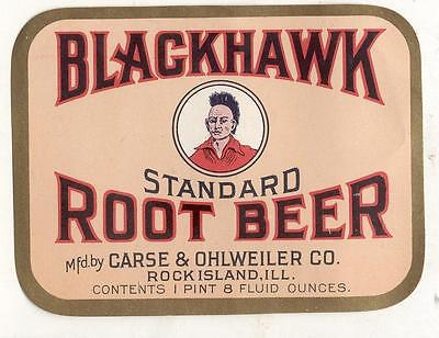 Blackhawk Root Beer by Chase &Ohlweiler co. Rock island ILL Indian Chief Label