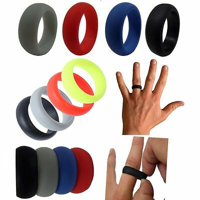 Silicone Wedding Soft Band Rings Men Women Flexible Hypoallergenic Rubber Ring